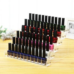Wholesale Nail Polish Stand Wholesale - Clear Plastic Display Stand 6 Layers Removable Nail Polish Storage Box Trapezoid Shape Boxes High Quality 26nd B