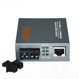 Wholesale media converter single mode - Free Shipping HTB-GS-03 Gigabit Fiber Optical Media Converter 1000Mbps Single Mode Duplex SC Port 20KM External Power Supply