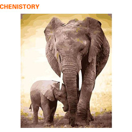 Wholesale Unique Elephant Gifts - CHENISTORY DIY Digital Oil Painting By Numbers Kits Coloring Painting By Numbers Unique Gift For Home Decoration Elephant 40x50
