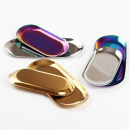 Disegni della decorazione della cucina online-Piatti snack Vassoio per scrivania da cucina Design unico Decorazione in acciaio inox Fun Design Ellipse Colore metallo Piatto gioielli New 11ys6 Z