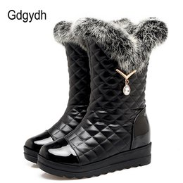 Wholesale Comfortable Boots For Women - Gdgydh Sexy Rhinestone Snow Boots Women Warm Shoes Slip-on Real Fur Ladies Boots For Winter Leather PU Comfortable Big Size 42