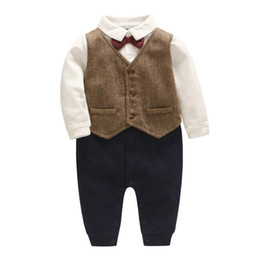 Wholesale boys clothing size 5t - INS hot styles New Spring Fall baby kids Clothing romper Gentleman tie design short Sleeve boy Romper Elegant romper 0-2T
