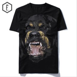 Wholesale Rottweiler Tee Shirts - New High 2018 Punk Men Fashion T Shirts Rottweiler Print T-Shirt Hip Hop Skateboard Street Cotton T-Shirts Tee Dog #603