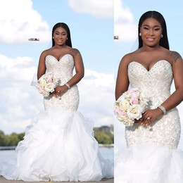 Wholesale african beaded - Luxury Arabic Sweetheart Cascading Ruffles Mermaid Wedding Dresses South African Beaded Backless Major Beading Crystals Bridal Gowns ba5100