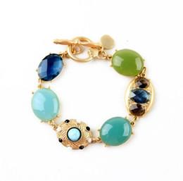 Wholesale Green Precious Gems - Opal Precious Jewel Jewelry Stone Gem Gemstone Toggle-clasps Charm Bracelets Bangles for Girls Ladies Friend