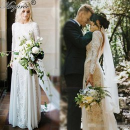 Wholesale Wedding Dresses Open Front White - Lace Bohemian Wedding Dresses Vintage French Lace Long Sleeve Boho Farm country Wedding Dress Open Back Bridal Dresses vestido de noiva
