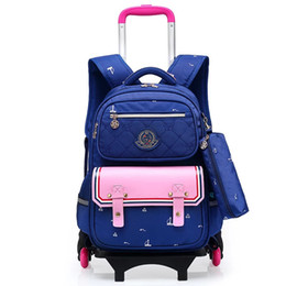 Wholesale school bags wheel - New Trolly School Bag Trolley Luggage Backpack for boys and girls Triple-wheel Wheeled Bag School Backpack For Children