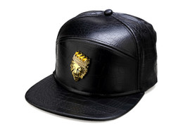 Lion casquette en Ligne-PU cuir Hip Hop Chapeaux Crocodile Grain Snapback Caps Golden Lion Head DJ Fashion Casquettes de base-ball Hommes Femmes Sport Team Snap Back Caps