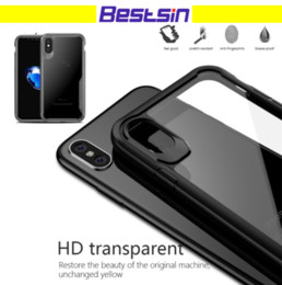 Wholesale Hd Casing - New For Iphone X Super Shockproof Protection reinforcement shock absorbs Color Bound HD Transparent BackCover Free DHL