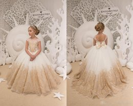f62218d6c01 2018Ball Gown Flower Girl Dresses For Country Wedding Ivory and Gold Tulle  Lace Applique Birthday Wedding Party Holiday First Communion Gown