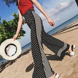 Wholesale palazzo chiffon - 2017 Summer Women Casual Loose Harem Pants Black And White Polka Dot Wide Leg Palazzo Culottes Trouser Female Clothing A3110