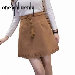 Wholesale Flared Mini Skirt High Waist - Autumn Winter Skirt Women 2017 Solid Vintage Suede Leather Thick Tutu Skirts High Waist Flared Puff Mini Skater Ball Skirt 009