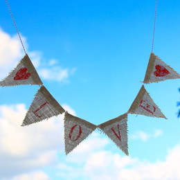 Wholesale hang love - Retro Linen Hanging Banner Love Heart Pattern Triangle String Flags Brown Without Flagpole Pennant Wedding Decorations 9 5jz B
