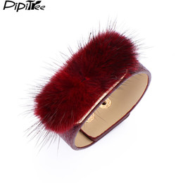 Wholesale Wristband Fur - whole salePipitree Unique Fur Charms Cuff Bracelet Jewelry 6 Colors Adjustable Wristband PU Leather Bracelets & Bangles for Women Gift