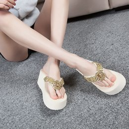 2018 Summer Lady Gold Glitter Thick-soled sandals and slippers Wedges Open  Toe Round Toe Zip Platform Sandals 8333 cb64f2e9d9ea