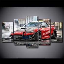 Wholesale Free Sports Posters - 5 piece canvas painting red sports car HD posters and prints canvas painting for living room free shipping XA-1789A