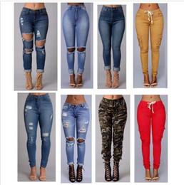 2019 jeans étnicos Pantalones vaqueros rasgados 2017 mujeres de la nueva manera atractiva los pantalones vaqueros de cintura alta cuerpo entero femme flaco de los pantalones vaqueros para mujer pantalones delgados