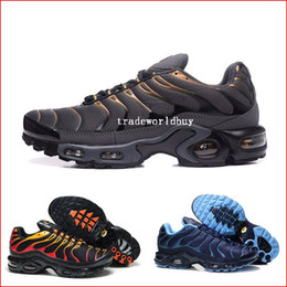 Wholesale Mens Leather Walking Shoes - Mens Air Cushion TN Running Shoes Black Fashion athletic Walking training Men jogging Tennis Shoes Man Training Sports Sneakers