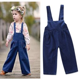 Wholesale Overall Jeans Baby - Spring Baby Girls Denim Overalls Kids Girls Fashion Bow Suspender Pants Babies Casual Loose Jeans 2018 Kids Clothing
