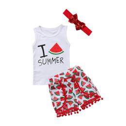 Sequinino di anguria online-New Fashion Lovely Baby Neonati Vestiti per bambini Stampa Anguria Abiti Abiti Set paillettes senza maniche