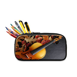 Wholesale Violin Brands - Brand Designer Zipper Pencil Case Pen Bag For New Term 3D Printing Violin Pencil Box Stationery Cases For Students Best Gift Organizer Bags