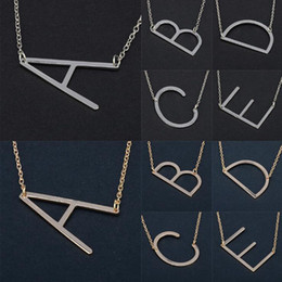 Wholesale Chain Chokers - 26 Alphabet English Letter Pendant Lady Metal Necklace A-Z Choker Chain Necklaces Sliver Gold Jewelry Gift OOA4421