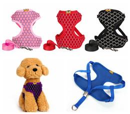 Wholesale Wholesale Chest Vest - Pet Dog Harness Chest Strap Outdoor Dog Harness Leash Set Rhinestone Puppy Soft Mesh Padded Vest Pet Leads DDA385