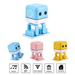 Wholesale Cute Robot Cartoon - F-666 Cartoon Cute Lovely Robot Intelligent Dance Bluetooth Mini Protable Speaker High Fidelity Music Dancing LED Light Loudspeaker