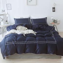 set di biancheria da letto grigio Sconti Blue Wine Red Grey luxury Semplice set di biancheria da letto in cotone in stile nordico Queen King Size Copripiumino Federa 4 pezzi