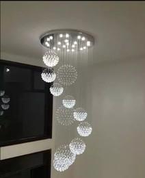 Argentina Cristal de alta calidad K9 de lujo Accesorio de la lámpara de techo grande para el pasillo, escaleras de la escalera, lámpara espiral larga de la lámpara del lustre de la luz de la espiral LLF cheap large ceiling light fixtures Suministro