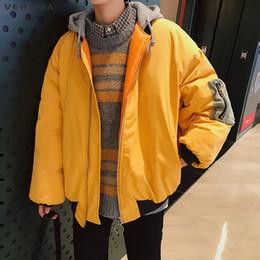 Wholesale Canada Mens Jacket - VERSMA 2017 Korean Harajuku Casual Mens Hooded Thick Parka Jacket Coat Men Winter Canada Russian Loose Parkas Jackets Coats Men