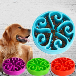 Wholesale Healthy Cup - Round Pet Anti Choking Bowls Bottom Anti Slip Plastic Dog Supplies Healthy Eat Slowly Puppy Food Bowl Colorful 8ss B