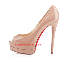 c1031a0bb82e Women Luxury Brand Color Fish Mouth 14cm Red Bottom High Heels Patent  Leather Platform Peep-toes Sandals Shiny Leather Shoes