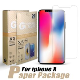Wholesale Package Films - For iPhone X Screen Protector 0.33mm Protective Tempered Glass For iPhone 8 iPhone 7 Protective Film with Paper Package