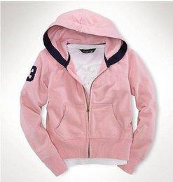 Lettres brodées Sweatshirt 2018 à capuche pour femmes Sweats à capuche manches longues polo gros cheval rose bleu solide manteau fille ? partir de fabricateur