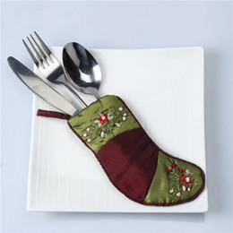 sacos de faca para Desconto DoreenBeads Natal Meias Deco Xmas Faca Garfo Talheres Saco Lindo Bolso Talheres Saco de Mesa De Jantar Para Casa 1 PC