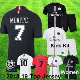 Wholesale 2018 jordan psg MBAPPE NEYMAR JR Champion kids Kit CAVANI KIMPEMBE VERRATTI psg UCL Black White Child Футбольная форма psg майка с коротким