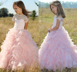 Wholesale Dr Lights - 2018 Pink Short Sleeves Flower Girls Dresses Children Sheer Neck Tiered Long Cute Girls Pageant Dress Organza And Lace Birthday Kids Prom Dr