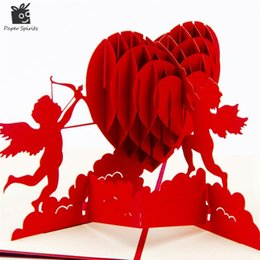 Messaggi di saluto cartolina online-3D Pop Up Compleanno Greeting Cartoline Carte regalo Custom Heart Blank Invito d'epoca Mariage Love Letters Messaggi