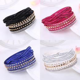 bracelete de couro pulseira bandas Desconto Mulheres coreanas Envoltório de Cristal pulseira de Couro De Veludo Multicamadas Pulseiras de Diamante Pulseira de banda para Menina Moda Jóias Presente