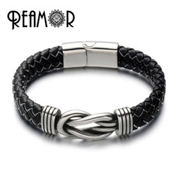 Wholesale Leather Jewelry Connectors - REAMOR Luxury 316L Stainless Steel Knot Connector Cuff Bracelets Bangles Genuine Leather Silk Braided Men Bracelets Male Jewelry