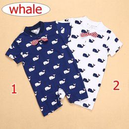 Wholesale navy blue baby bow - ins summer kids whale full print romper with big bows baby mustache print jumpsuits navy blue white 2color choose free 0-2years free ship