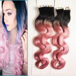 2019 destacados del cabello brasileño Brazilian Body Wave Hair Remy Tape en extensiones de cabello Ombre Color # 1B Fading to Pink Destaca Human Tape Hair 80Pcs por paquete de 200g rebajas destacados del cabello brasileño