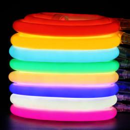 2019 tubes néon roses Lumière de bande flexible ronde LED 220V 230V 2835 LED Tube néon Flex 120 LED IP68 Lampe de corde étanche 16mm avec prise de courant EU