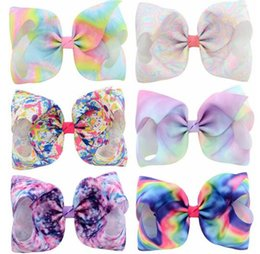 Wholesale Multi Dance - HOT SALE JoJo Siwa Kids Girls Teens 8inch Gradient color Bow Hair Large Flash Sparkle Hair Bow Dance Hair Bows Cheerleader Bow