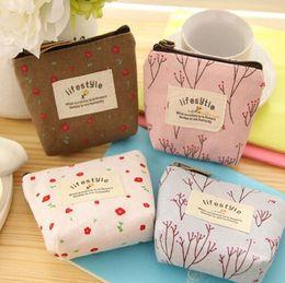 piccole piante Sconti Piccola borsa di moneta stile pastorale fresco Lady Childern Canvas Zipper Wallet Carino modello di pianta pacchetto portachiavi borsa