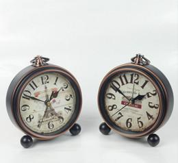 Wholesale Clocks European Vintage - Home Decoration Bronze Gold Mute Table Clock Handicraft Vintage Alarm Clock European Style Retro Wrought Iron Craft Table Clocks