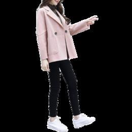 veste coréenne pour femme rose Promotion nouvelle hiver vêtements pour femmes mode coréenne lâche rose manteau en tissu veste top vêtements poche tweed tenue vestido fille manteau S-XL