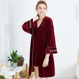 RS0303 New Autumn Winter Women Sleepwear Sexy Gown Robe Sets Velvet Pleuche  2pcs Pyjama Set Ladies Nightgowns Robes Nightwear cb274f412