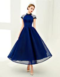 guarnición del desgaste Rebajas Vintage azul oscuro vestidos de baile una línea neta elegante cuello alto capucha manga corta cristales rebordear vestidos para ocasiones especiales Formal desgaste de las mujeres